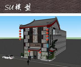 中式单体建筑SU