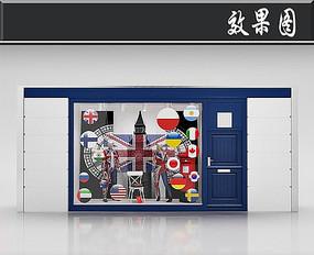 国外创意国旗服饰橱窗效果图