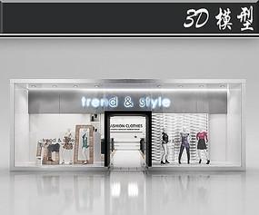 国外简欧风服装店橱窗3D模型