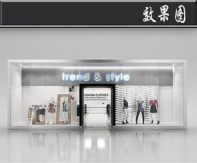 国外简欧风服装店橱窗效果图