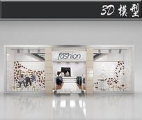 国外简约服装橱窗3D模型