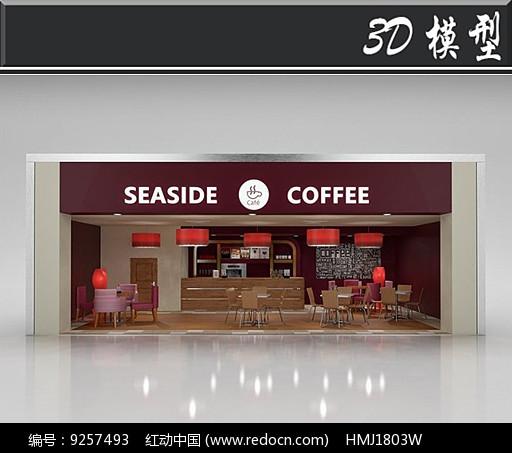 国外咖啡店橱窗3D模型图片