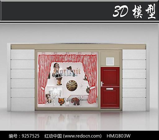 国外小清新服装店橱窗3D模型图片