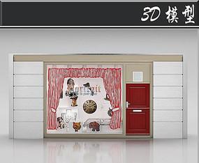 国外小清新服装店橱窗3D模型