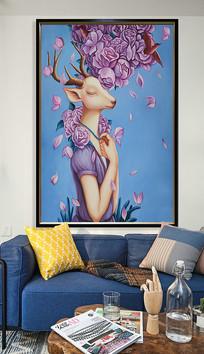 麋鹿仙女唯美油画艺术玄关