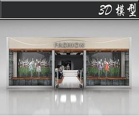 森林系服装店橱窗3D模型