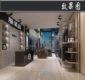 现代黑白服装店3D效果图