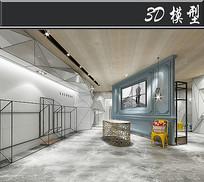 现代简约风服装店3D模型