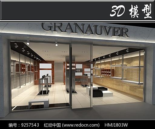 现代木板装饰店3D模型图片