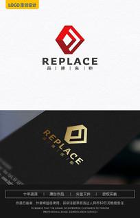 F字母建筑logo设计 AI