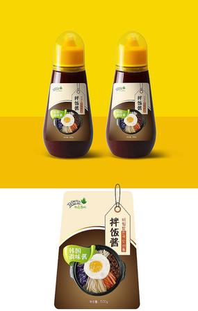 韩式拌饭酱瓶贴