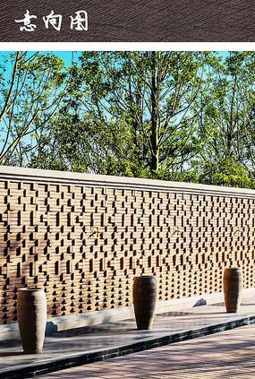 红砖围墙景观