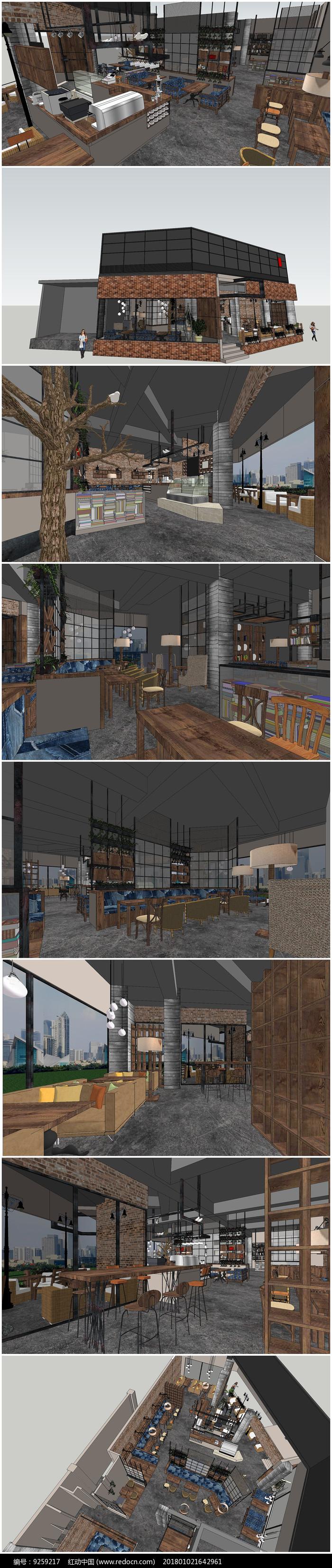 精品茶室SU室内外模型图片