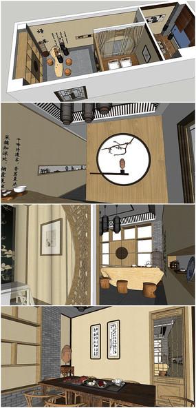 精品茶室室内草图大师模型