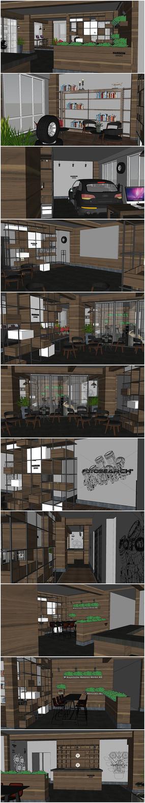 精品现代茶吧室内草图大师模型