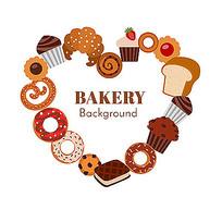面包店和蛋糕组成心形素材