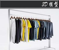 男士短袖长袖卫衣3D模型