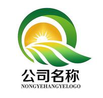 农业树叶太阳光生态logo AI