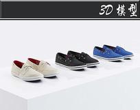 女士简易帆布鞋3D模型