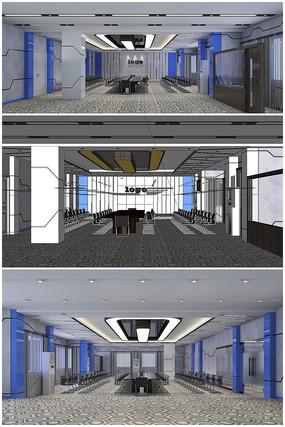 现代大办公室草图模型加效果图