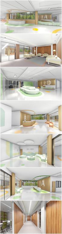 现代医院改造室内草图加效果图