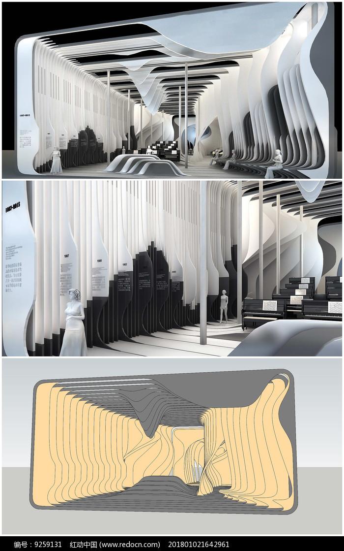 音乐展厅室内草图模型加效果图图片