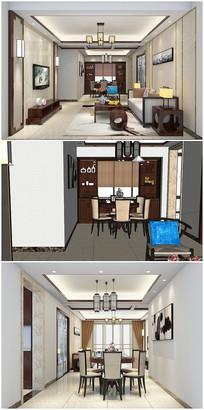中式风格室内草图模型带渲染