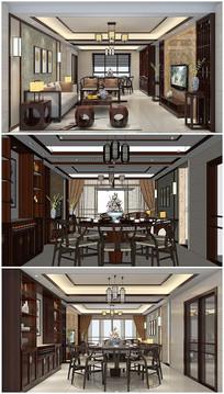 中式客厅室内草图模型加效果图