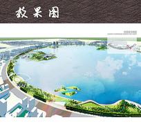 滨水生态小岛景观鸟瞰