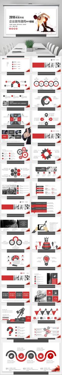 红色商业计划ppt模板