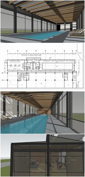 健身房游泳池现代室内草图模型