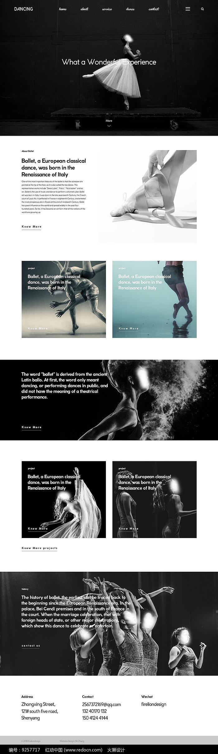 舞蹈响应式网站首页图片