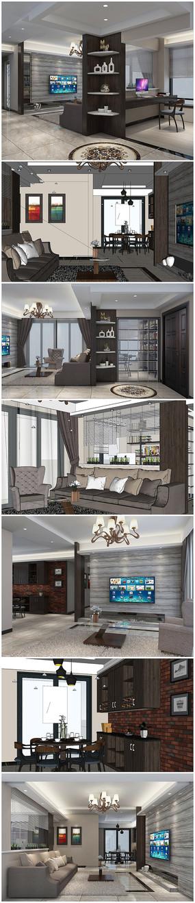 新中式风格室内草图模型带渲染