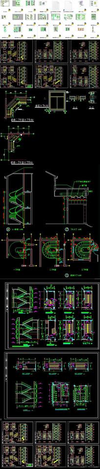 CAD楼梯节点详图剖面图 dwg