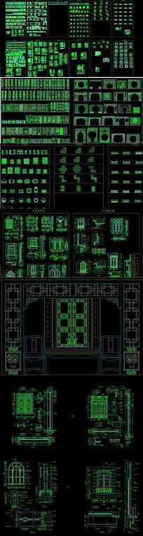 CAD中式建筑屏风明清家具
