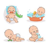 baby洗澡喝奶睡觉插画素材