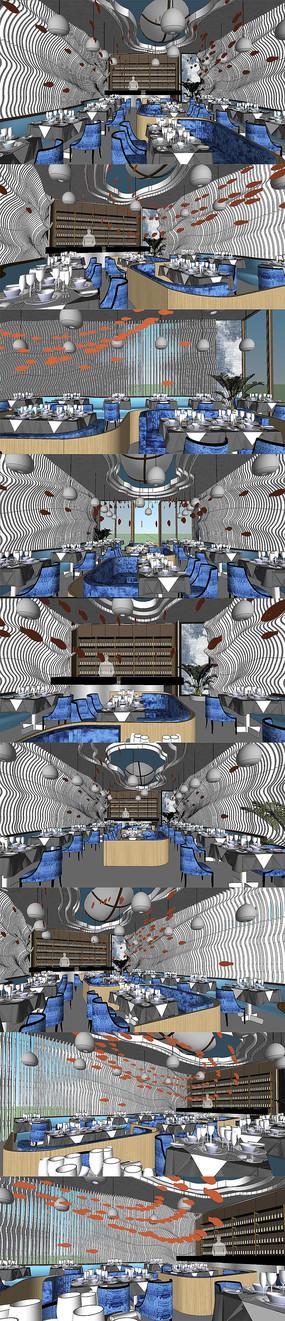 创意海洋概念餐厅设计SU模型