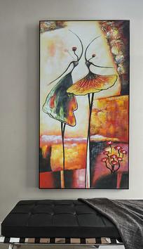 高清巨幅抽象舞者艺术油画玄关