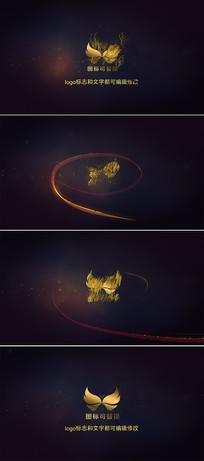 金色粒子飘散标志展示ae模板