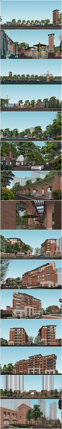 居住小区景观及建筑SU模型