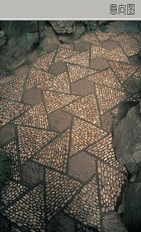 三角形卵石铺装