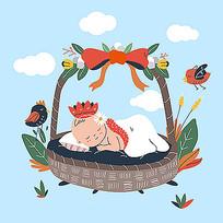 躺在篮子里睡觉的婴儿插画素材
