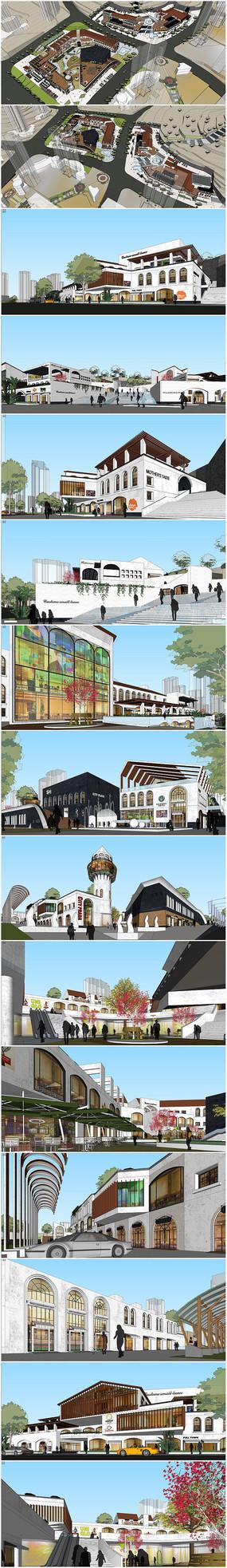地中海风格现代商业街区模型