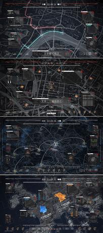 高科技地图路线界面视频模板 aep
