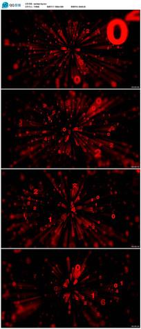 红色粒子数字倒计时视频