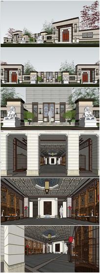 精品现代大堂建筑模型