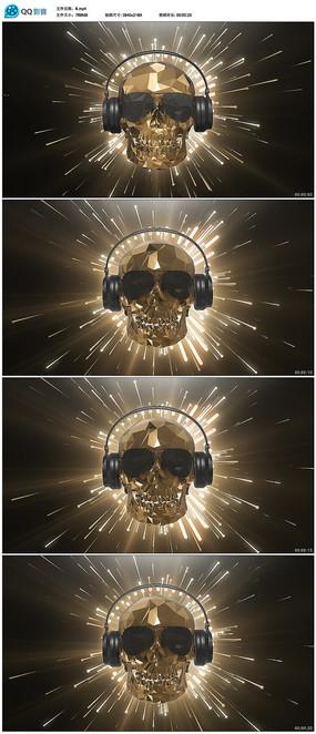 金色骷髅头节奏感音乐背景视频