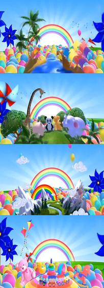 卡通场景元素led视频素材