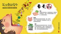 卡通食品安全健康春天忌食海报