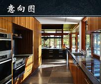 现代美式室内厨房